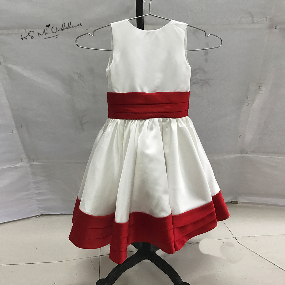 Sexy Children Images White Red Flower Girl Dress Pageant Dresses For