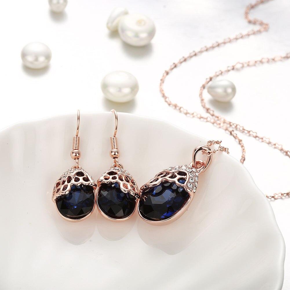 BLUE STONE joyeria conjuntos jwellary sets azul glass de mujer joyas aesthetic de luxe kenya lotes al por Dahu Rico jewelry sets
