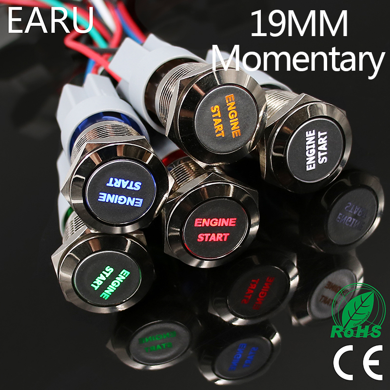 1pc 19mm Waterproof Stainless Steel Metal LED Momentary Power Push Button Switch Racing Car Auto Motorcycle Engine Start Starter 1pc 19mm power start push button with led 12v 24v momentary auto reset ring indication illuminated car dash power metal switch