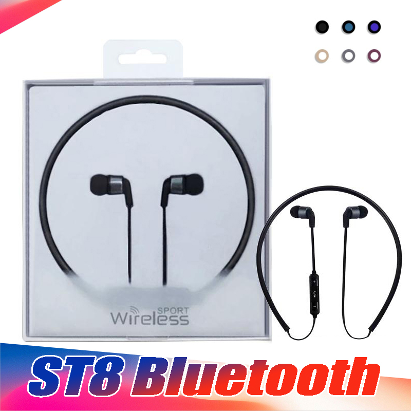 30PCS/Lot ST8 Necklace Bluetooth Earphone Headset Sports Bluetooth High Quality With Package for iphone X 8 7 plus Samsung LG