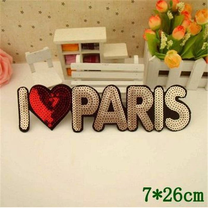 Beautiful patch 200pc/lot Manufactory wholesale nice I LOVE PARIS big sequins Iron On popular Patches garment Appliques accessor