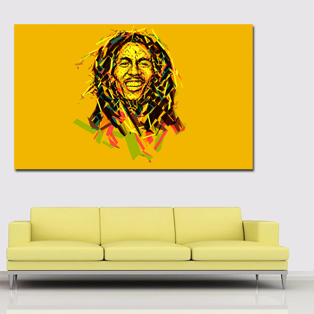 Боб Марли красочные портрет маслом напечатаны на холсте Книги по искусству принты желтый Blackground для Гостиная Домашний Декор без Рамки