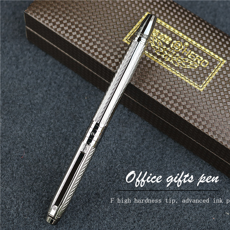 Grey embossed fountain pen Office writing gifts New concept wavy texture ink pen can choose with or without gift boxes