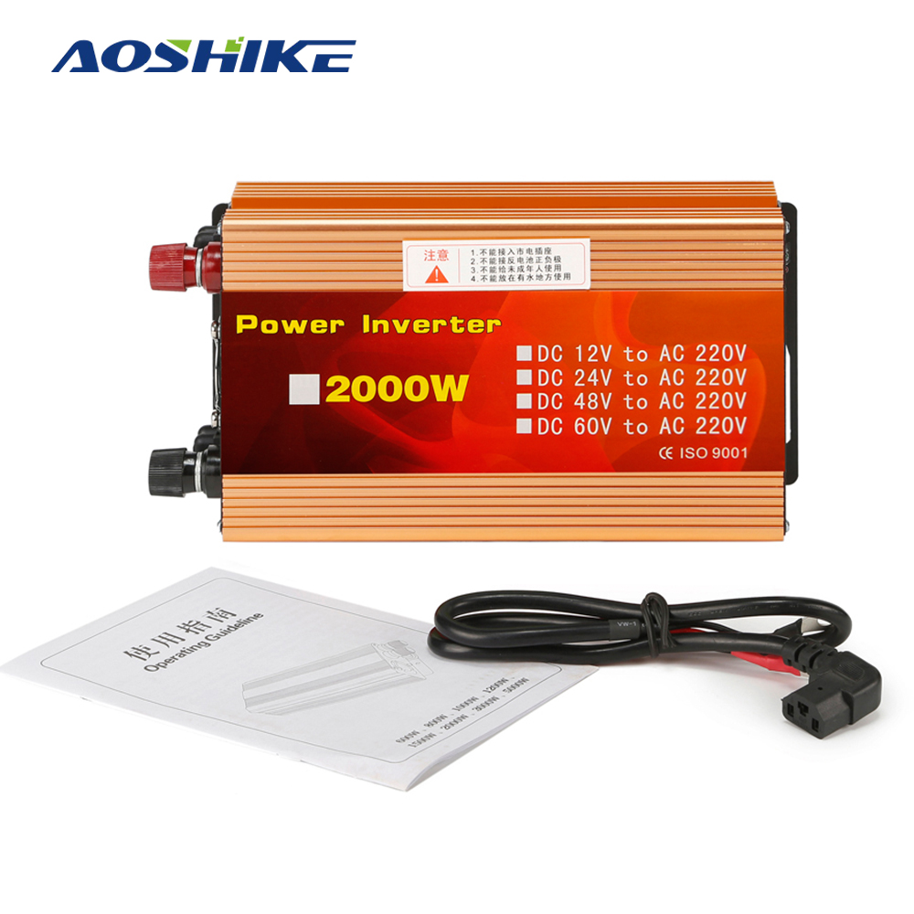 Aoshike 2000W Solar Car Inverter DC12V to AC220V Modified Sine Wave Inverter with Anti-reverse Protection Function and USB bessel function and the modified bessel function