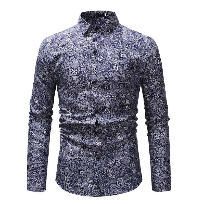 098c210d68 gray Impreso Costura 2019 Camisetas Chaqueta Larga Algodón Color Colorido  Camisas Moda Blue De Hombre Manga ...