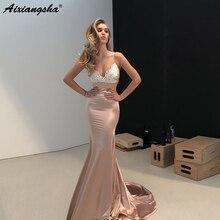 Champagne robes de soirée 2019 col en v Appliques Satin Sexy dos nu élégant longue formelle robe de soirée sirène robe de bal