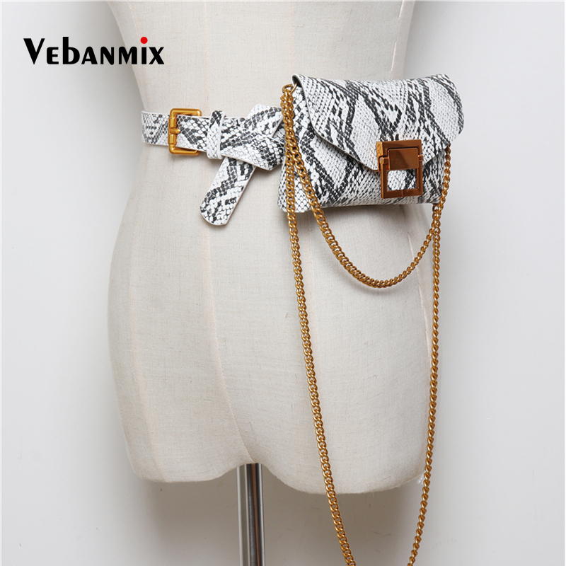 Vintage Serpentine Leather Waist Belt Bags Women 2018 Chain Shoulder Bag Female Fashion Snake Skin Waist Bag For Girl Fanny Pack