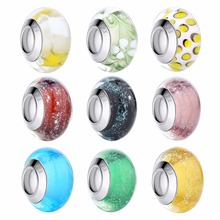 DISINIYA  Wholesale Silver Color Luminous European Brown Murano Glass Beads fit Bracelet Women Fashion Jewelry PA6366