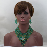 Fashion Teal Green Bridal Beads Indian Wedding Jewelry Set Chunky Bold Statement Necklace Set Nigerian Beads Free Shipping WD188