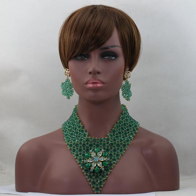 Moda Verde Del Trullo Beads Nupcial Indio Joyería de la Boda Conjunto Collar de la Declaración Chunky Negrita Nigeriano Beads Envío Gratis WD188