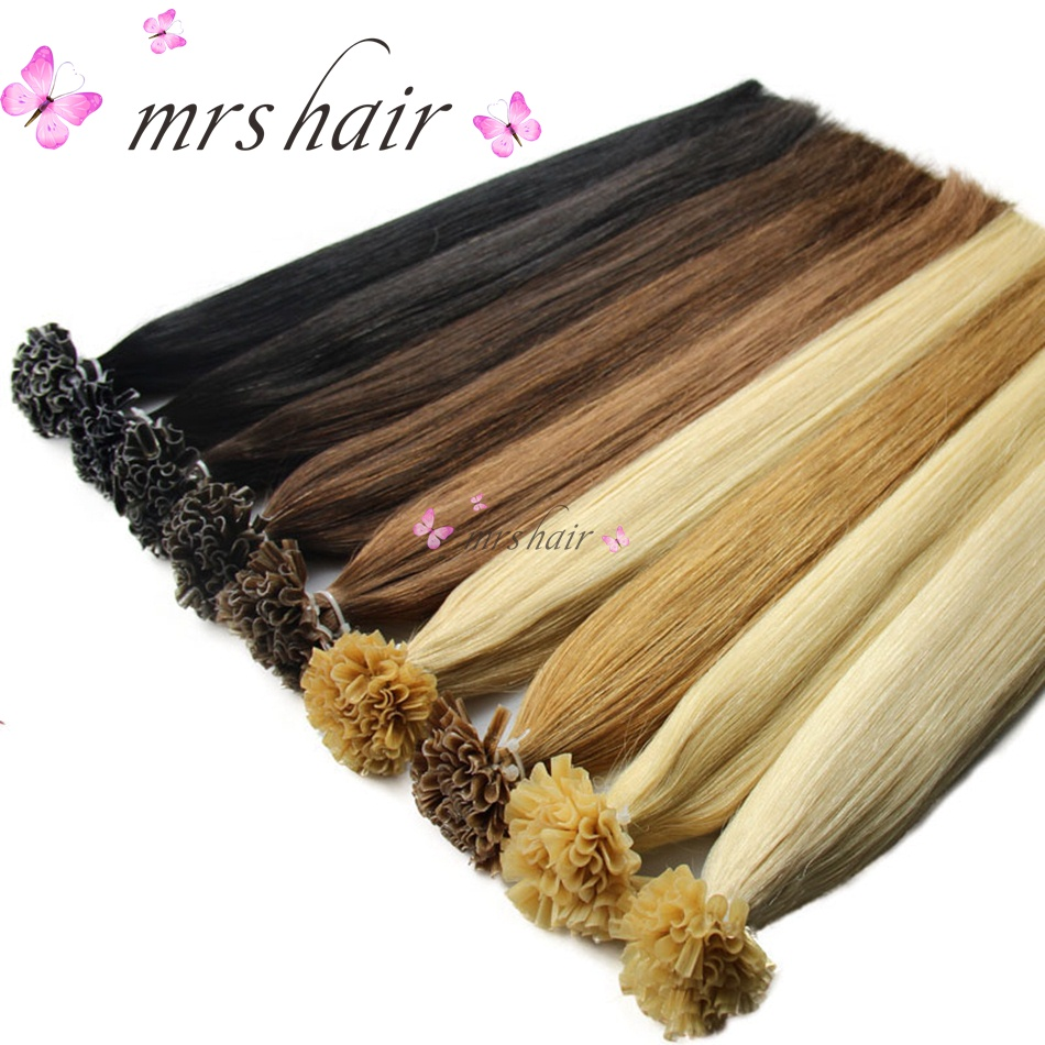 MRSHAIR 1g/pc 16 20 24 Nail U Tip Hair Extensions Straight Machine Made Remy Hair Pre Bonded Keratin Capsules Hair 50pcs ...