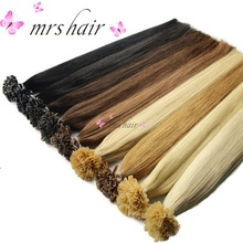 "MRSHAIR Nail U Tips Hårförlängningar 16 ""20"" 24 ""1g / pc Rak Pre Bonded Hair On Keratin Capsules Hot Fusion Extensions 50st"