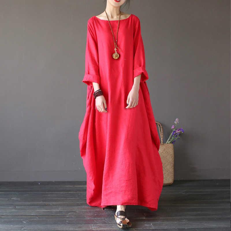 0f1baa05fe2a ... 3XL 4XL 5XL Cotton Women Maxi Dress big Size Summer Autumn Loose Linen  Long Sleeve Vestidos ...