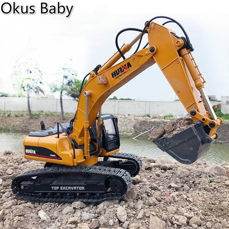 2019 Brand New Toys 15 Channel 2.4G 1/14 RC Excavator Charging RC Car With Battery RC Alloy Excavator RTR For kids-in RC Cars from Toys & Hobbies