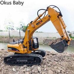 2019 juguetes a estrenar 15 canales 2,4G 1/14 RC excavadora de carga RC coche con batería RC aleación excavadora RTR para niños
