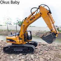 2019 nuevos juguetes 15 canales 2,4G 1/14 RC excavadora cargando coche RC con batería RC aleación excavadora RTR para niños