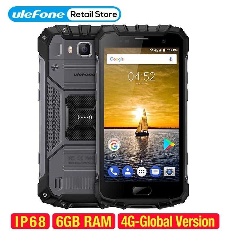Ulefone Armure 2 Smartphone IP68 Étanche Android 7.0 5.0 FHD Helio P25 Octa Core 6 gb 64 gb 2.6 ghz 4700 mah NFC 4g Portable
