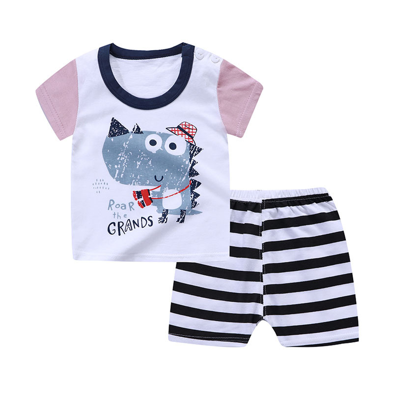 New Cartoon Summer Baby Boy Clothing Set Tank Top + Shorts Kid Girls Summer Set Toddler Child 1-4 Years Clothes Set Short Sleeve