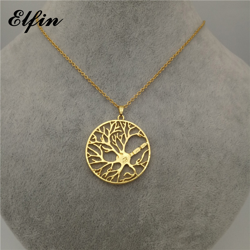 Elfin New Brain Cell Neuron in a Circle Necklace Tree of Life Psychology