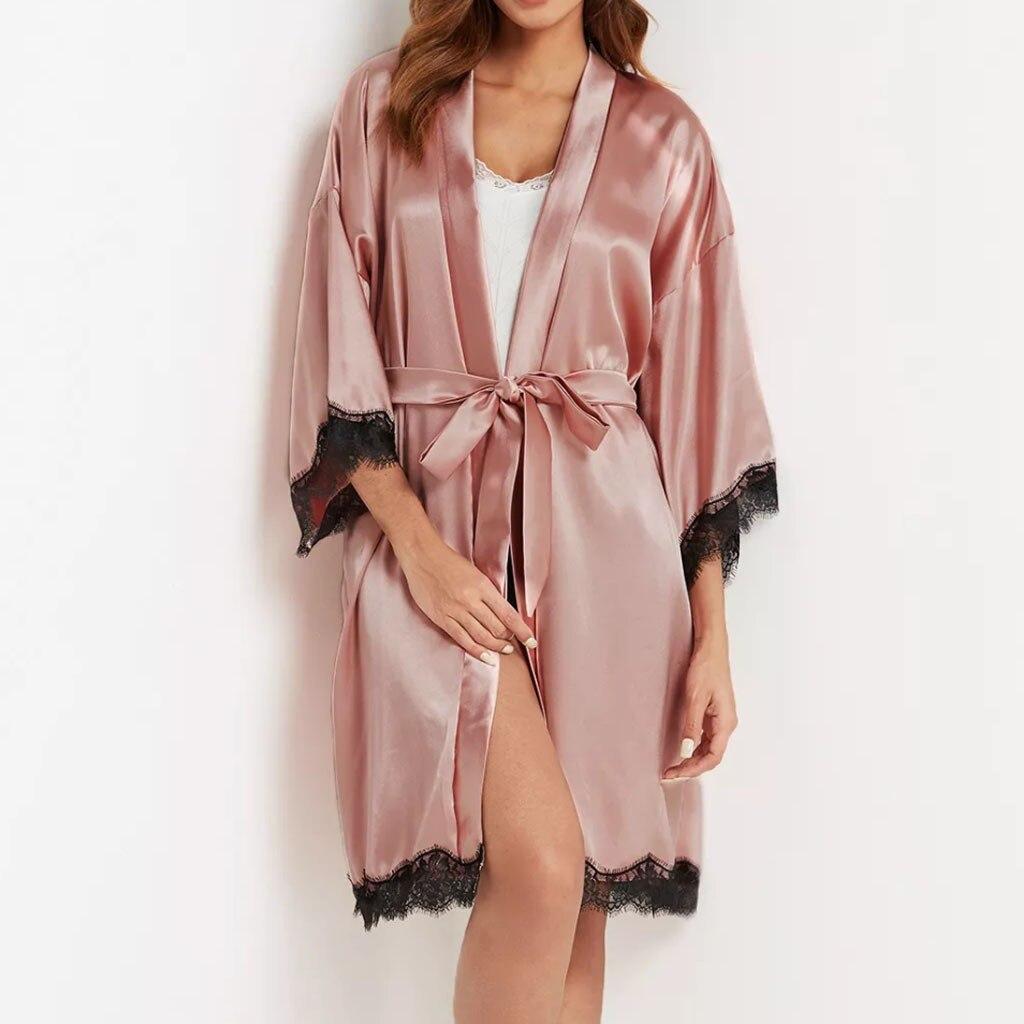 Silky Satin Kimono Robe Nachtwäsche Schlafkleid Tanga Unterwäsche Set für