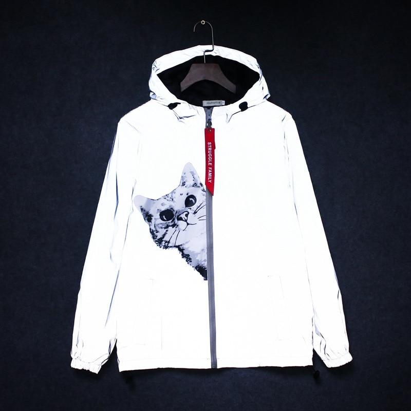 New men's autumn Men /women windbreaker reflective jacket casual hip hop hooded coat streetwear night shiny harajuku jackets 5XL 4