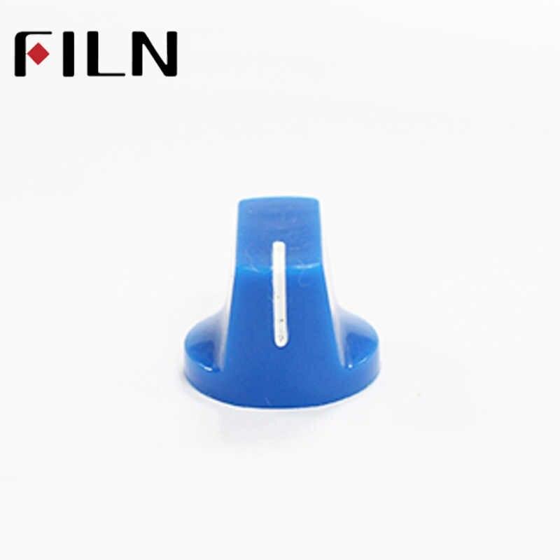 Azul 6.35mm slides Potenciômetro eixo com PARAFUSO Botão KONB Guitarra Efetoras caneladas Botões Pedal