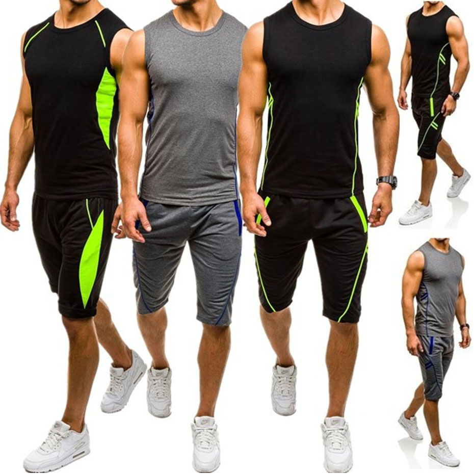 Brand New Mens Fashion Sporting Suit Stitching Color Jogging Sweat Suits Casual Style Sleeveless Joggers Men Set