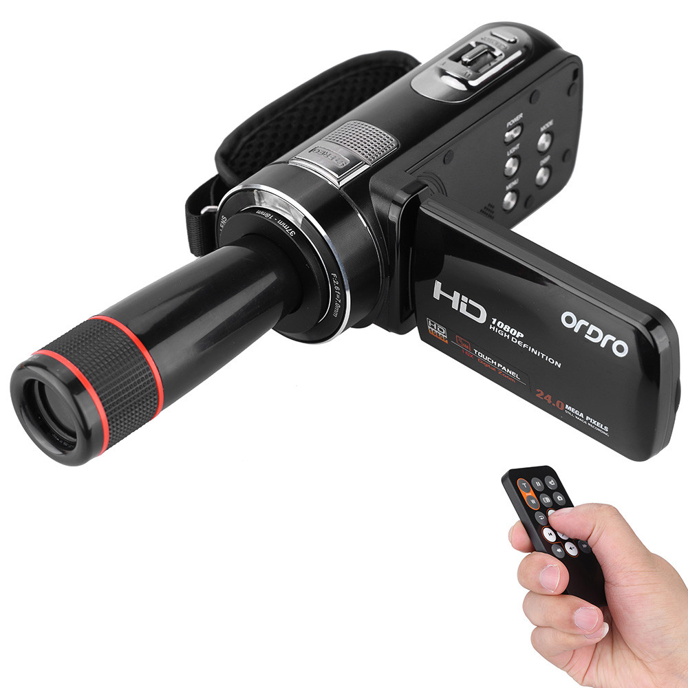 ORDRO HDV-Z8 1080P Full HD 16x Digital Zoom Digital Video Camera Camcorder with LCD Touch Screen Max.24MP with Telescopic Lens