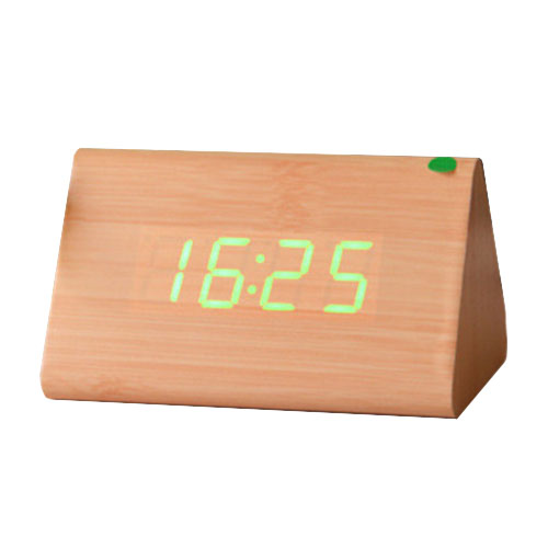 Botique e Wood Voice Control Alarm Digital LED Alarm Clock Thermometer Yellow + Green