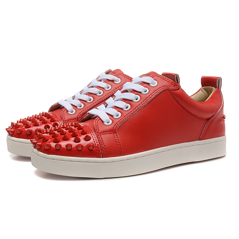 New Fashion Red Rivets Mens Low Top Sneakers Outdoor Men Shoes Comfortable Casual Shoes Men Fashion Breathable Flats For Men 46 cimim brand new hot sale men flats shoes fashion mens shoes casual comfortable mens shoes large sizes 38 48 superstar zapatos