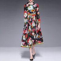 Red RoosaRosee Spring Summer 2019 Women's Dresses Long Sleeve Boho Floral Print Long Sleeve Long Maxi Party Holiday Dress Sale
