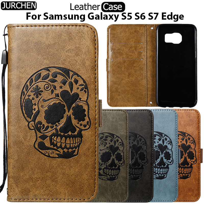 JURCHEN Case For Samsung Galaxy S7 / S7 Edge Case Skull Leather Flip Phone Wallet Cover For Samsung Galaxy S6 Edge S6 S5 Case