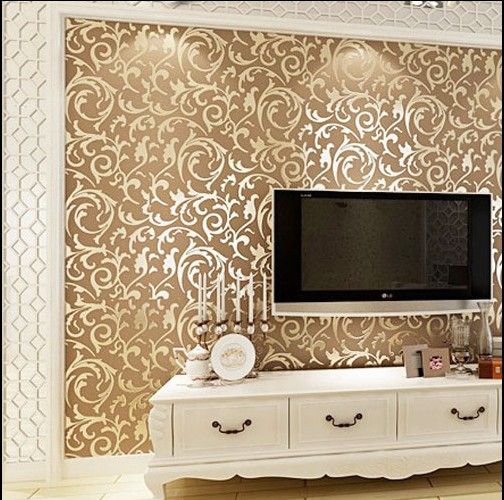 Contracted ou lang Chinese trumpet creeper wallpaper in the living room TV setting wall stickers paper Non-woven 3 d TV wall 2016 new best selling the sitting room tv setting wall paper pure pigment color contracted stripe wall paper non woven bedroom