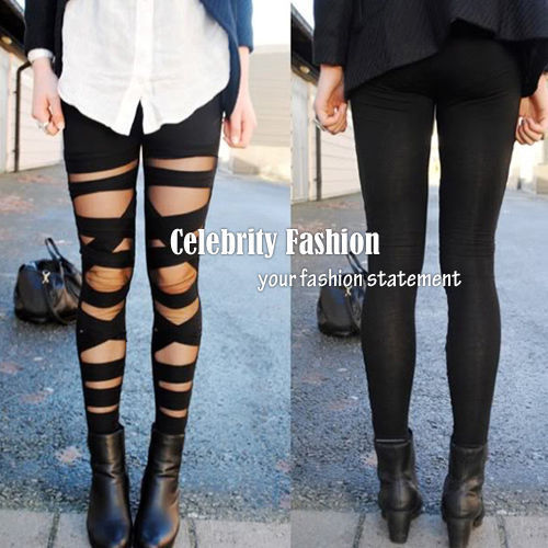 L83 Celebrity Style Women's Cut-out Bandage Lace Leggings Pant Free Drop Shipping