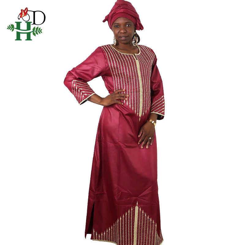 African Dresses For Women Headwraps Beaded Plus Size Africa Clothes Beading Bazin Riche African Clothing Long Dashiki Robe