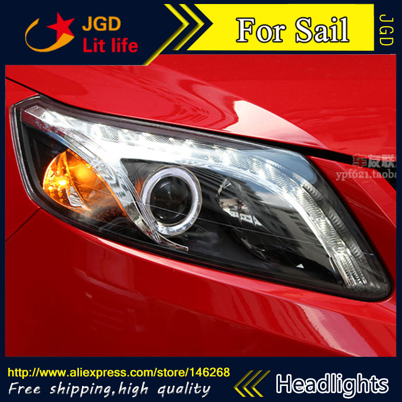 Free shipping ! Car styling LED HID Rio LED headlights Head Lamp case for Sail 2010-2014 Bi-Xenon Lens low beam free shipping car styling led hid rio led headlights head lamp case for hyundai elantra 2004 2010 bi xenon lens low beam