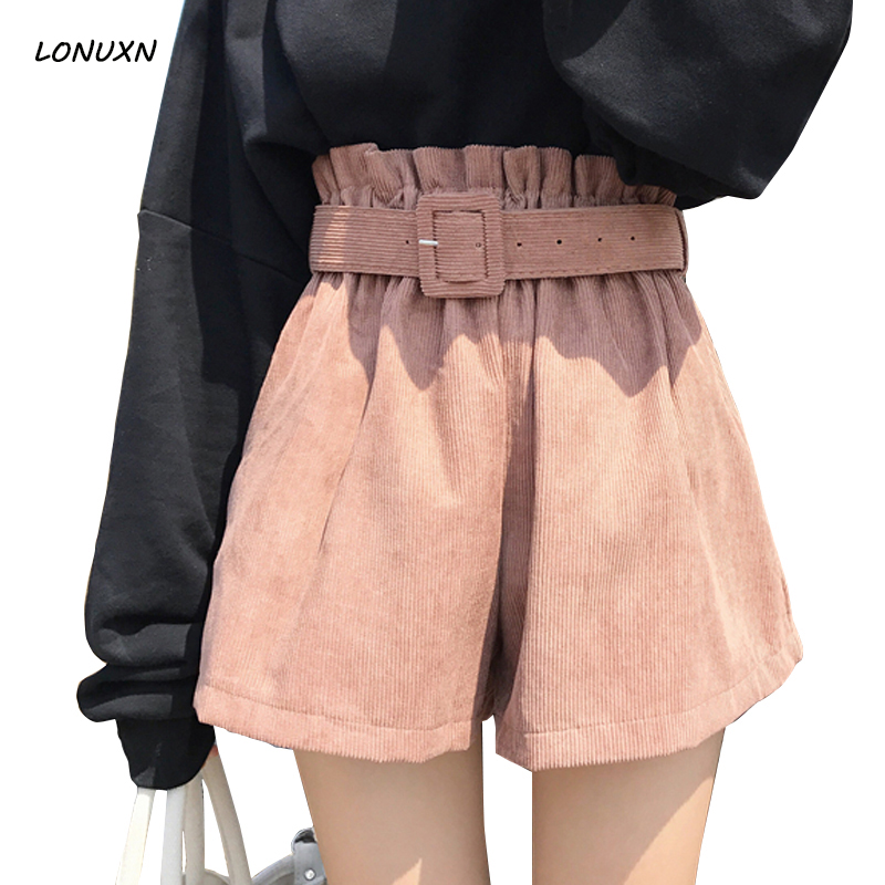 High quality Korean spring new style Female High waist loose Wide leg   shorts   Girls Slim Leisure Solid color within belt   shorts