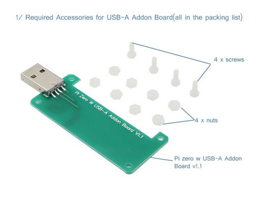 1PCS Raspberry Pi Zero W BadUSB USB-A Addon Board USB