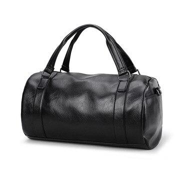 6e1226c880 Hommes bagages Duffle Sac En Cuir PU sacs de voyage pour hommes Femmes  Épaule Sac de Week-End Sac À Main Seau Main valise Fourre-Tout mala de  viagem
