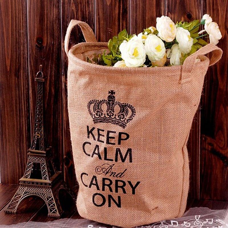 2pcs/pack Linen organization bags folding storage bags barrel vintage rural box with words home decoration storage basket bins