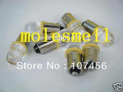 Free shipping 20pcs T10 T11 BA9S T4W 1895 12V yellow Led Bulb Light for Lionel flyer Marx