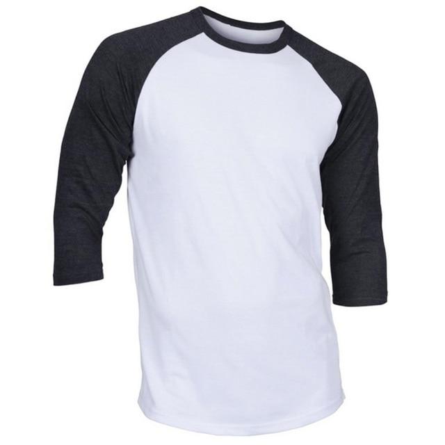 Для мужчин О-образным вырезом хлопок Футболки Для мужчин Повседневное 3/4 футболки с короткими рукавами реглан Джерси Рубашки Для Мальчиков Новый