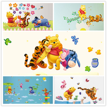winnie the pooh bear wall sticker child role of children's diy adhesive art mural poster picture removable wallpaper baby room(China)