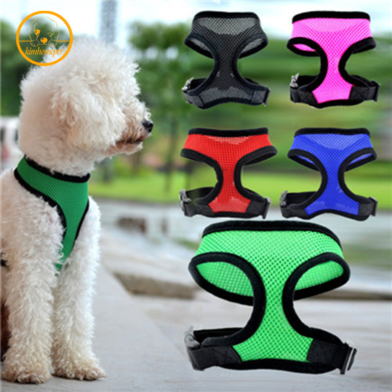 Hoge Kwaliteit Zachte Mesh Hond Puppy Harnas Vest Hond Kleren Kleine Hond Harnas Leiband Blauw 5 Kleuren Gratis Verzending Pd13