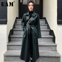 [EAM] Новинка 2019 года; сезон весна-осень; ветровка из искусственной кожи с отворотами, длинными рукавами и карманами на пуговицах; Модный Тренч для женщин; JY110
