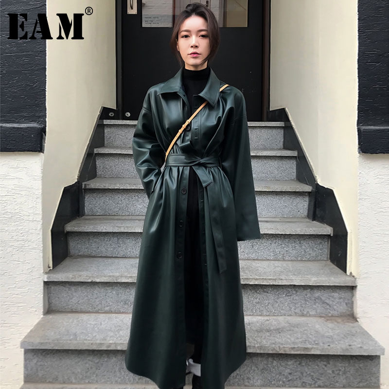 [EAM] 2020 New Spring Autumn PU Leather Lapel Long Sleeve Bandage Button Pockets Windbreaker Women Trench Fashion Tide JY110