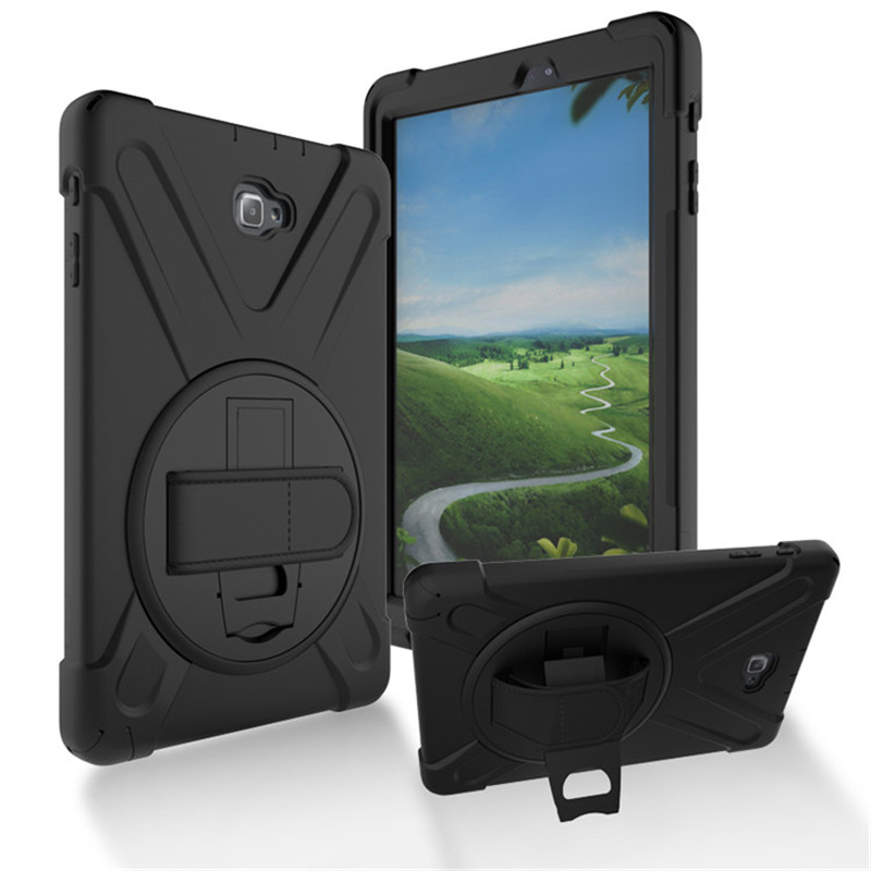 Case For Samsung Galaxy Tab A A6 10.1 P580 P585 Kids Safe Shockproof Heavy Duty Silicone Hard Cover kickstand design Wrist strap tire style tough rugged dual layer hybrid hard kickstand duty armor case for samsung galaxy tab a 10 1 2016 t580 tablet cover