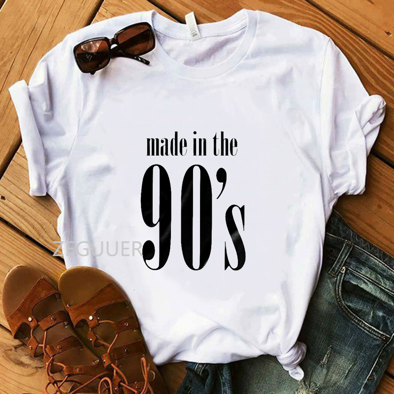 Vogue 100% Cotton White T-Shirt Made In The 90's Party Retro Women T-shirt Girl Hipster Tees Lady Soft O-Neck Harajuku Tops