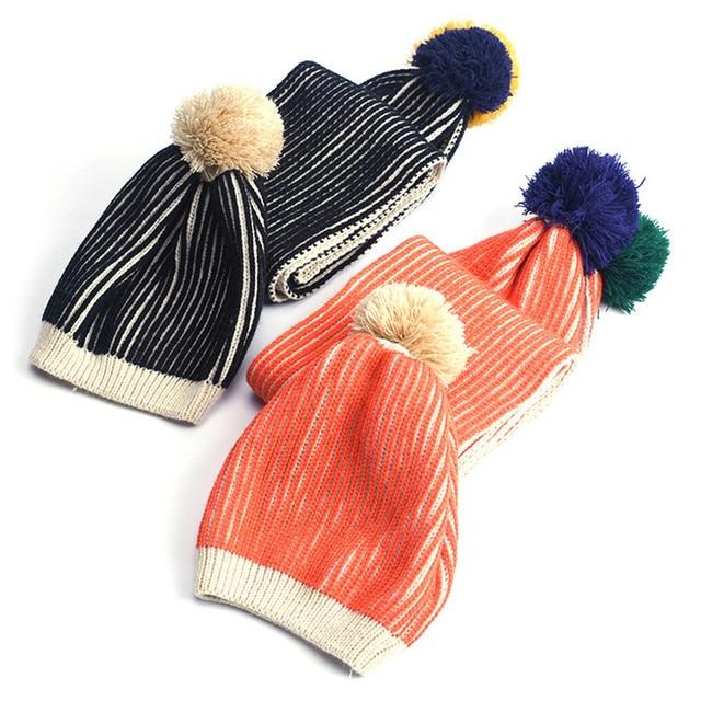 Nouveau Mode Tricot de Laine Enfants Chapeau Écharpe Pom Pom Balle Chapeau  garçons Filles Chapeau Écharpe 0b273c4ce97