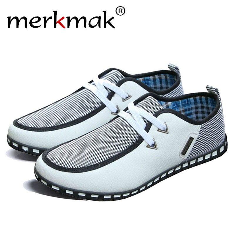 Merkmak Neue Mode Leinwand Männer Schuhe Marke männer Wohnungen Atmungsaktive Lace-up Business Schuhe Hohe Qualität Plus Große größe 39-46